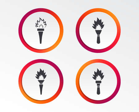 Torch flame icons. Fire flaming symbols. Hand tool which provides light or heat. Infographic design buttons. Circle templates.