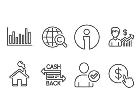 Set of Cashback card, Bar diagram and Identity confirmed icons. International Ð¡opyright, Business growth and Buy currency signs. Money payment, Statistics infochart, Person validated.