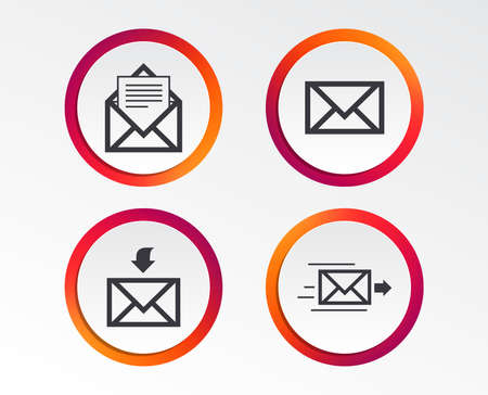 Mail envelope icons. Message document delivery symbol. Post office letter signs. Inbox and outbox message icons. Infographic design buttons. Circle templates. Illustration
