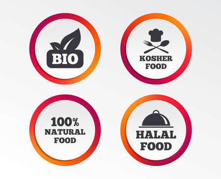 100% Natural Bio food icons. Halal and Kosher signs. Chief hat with fork and spoon symbol. Infographic design buttons. Circle templates.