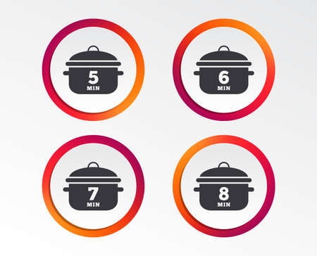 Cooking pan icons. Boil 5, 6, 7 and 8 minutes signs. Stew food symbol. Infographic design buttons. Circle templates.