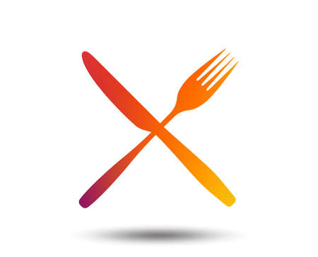 Eat sign icon. Cutlery symbol. Fork and knife crosswise. Blurred gradient design element. Vivid graphic flat icon. Banque d'images - 100726136