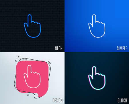 Glitch, Neon effect. Hand Click line icon. Finger touch sign. Cursor pointer symbol. Trendy flat geometric designs. Illustration