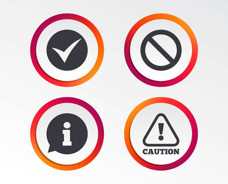 Information icons. Stop prohibition and attention caution signs. Approved check mark symbol. Infographic design buttons. Circle templates. Ilustração