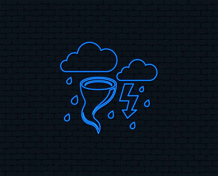 Neon light. Storm bad weather sign icon. Clouds with thunderstorm. Gale hurricane symbol. Destruction and disaster from wind. Insurance symbol. Glowing graphic design. Brick wall. Vector