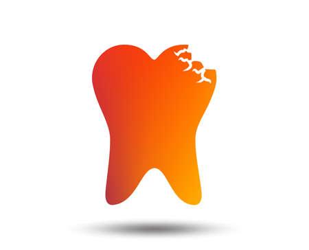 Broken tooth icon. Dental care sign symbol. Blurred gradient design element. Vivid graphic flat icon. Vector