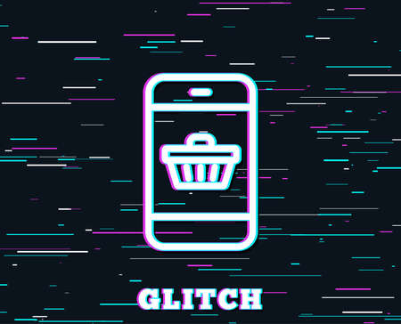 Glitch effect. Mobile Shopping cart line icon. Smartphone Online buying sign. Supermarket basket symbol. Background with colored lines. Vector