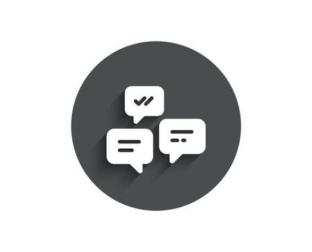Chat Messages simple icon. Conversation or SMS sign. Communication symbol. Circle flat button with shadow. Vector