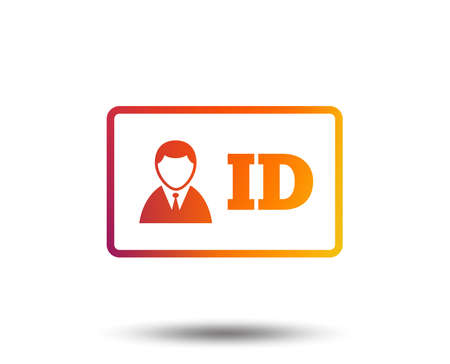 ID card sign icon. Identity card badge symbol. Blurred gradient design element. Vivid graphic flat icon. Vector