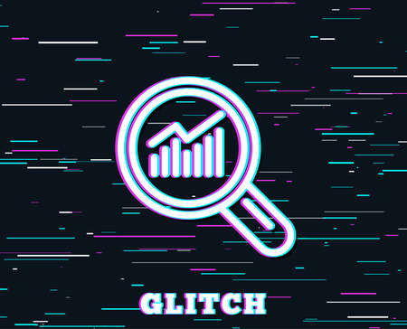 Glitch effect. Chart line icon. Report graph or Sales growth sign in Magnifying glass. Analysis and Statistics data symbol. Background with colored lines. Vector Imagens - 101608156