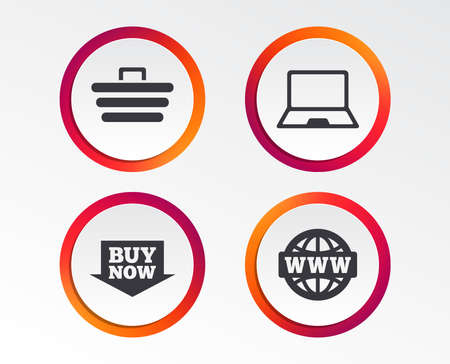 Online shopping icons. Notebook pc, shopping cart, buy now arrow and internet signs. WWW globe symbol. Infographic design buttons. Circle templates. Vector  イラスト・ベクター素材