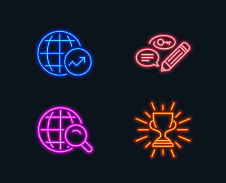 Neon lights. Set of Keywords, World statistics and Internet search icons. Trophy sign. Pencil with key, Global report, Web finder. Winner cup.  Glowing graphic designs. Vector