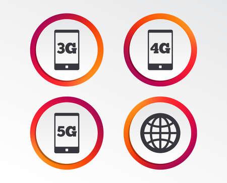 Icônes de télécommunications mobiles. Symboles de la technologie 3G, 4G et 5G. Signe du globe terrestre. Boutons de conception infographique. Modèles de cercle. Vecteur Vecteurs