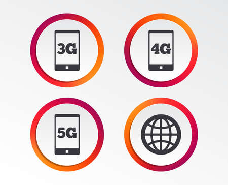 Mobile telecommunications icons. 3G, 4G and 5G technology symbols. World globe sign. Infographic design buttons. Circle templates. Vector Vectores