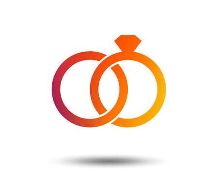 Wedding rings sign icon. Engagement symbol. Blurred gradient design element. Vivid graphic flat icon. Vector