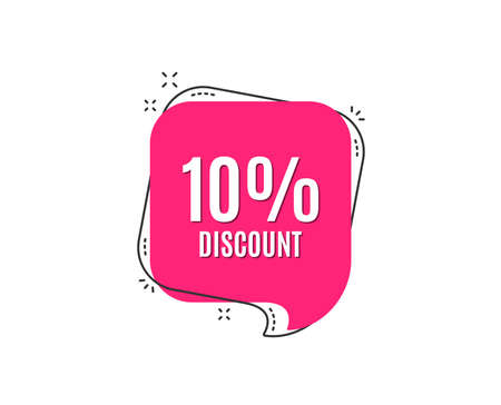 10% Discount. Sale offer price sign. Special offer symbol. Speech bubble tag. Trendy graphic design element. Vector Çizim