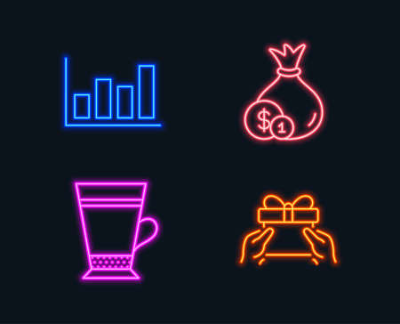 Neon lights. Set of Cash, Latte and Report diagram icons. Give present sign. Banking currency, Coffee beverage, Financial market. Receive a gift.  Glowing graphic designs. Vector