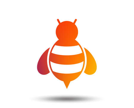 Bee sign icon. Honeybee or apis with wings symbol. Flying insect. Blurred gradient design element. Vivid graphic flat icon. Vector Banco de Imagens - 101608528