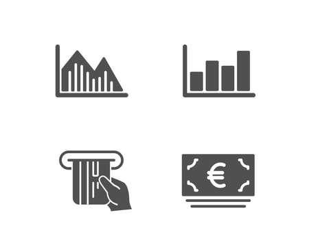 Set of Investment graph, Report diagram and Credit card icons. Euro currency sign. Investment infochart, Financial market, Atm payment. Eur banking.  Quality design elements. Classic style. Vector