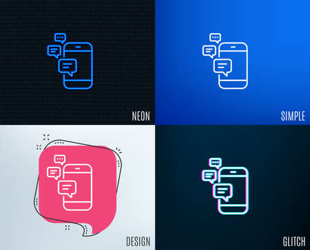 Glitch, Neon effect. Communication line icon. Smartphone chat symbol. Business messages sign. Trendy flat geometric designs. Vector Illustration