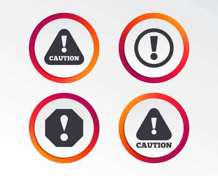 Atención iconos de precaución. Símbolos de advertencia de peligro. Signo de exclamación. Botones de diseño infográfico. Plantillas de círculo. Vector