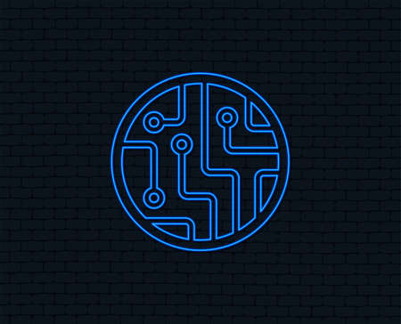 Neon light. Circuit board sign icon. Technology scheme circle symbol. Glowing graphic design. Brick wall. Vector
