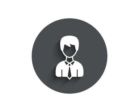 Male User simple icon. Profile Avatar sign. Businessman Person silhouette symbol. Circle flat button with shadow. Vector