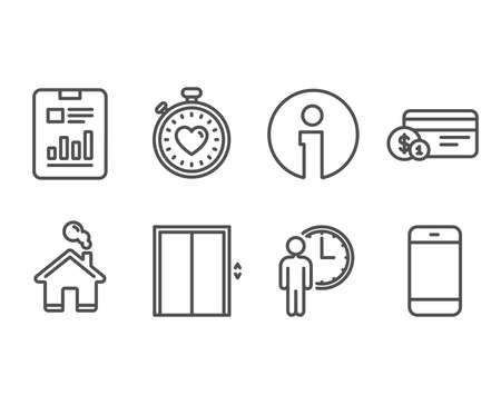 Set of Waiting, Report document and Lift icons. Payment method, Heartbeat timer and Smartphone signs. Service time, Page with charts, Elevator. Vector