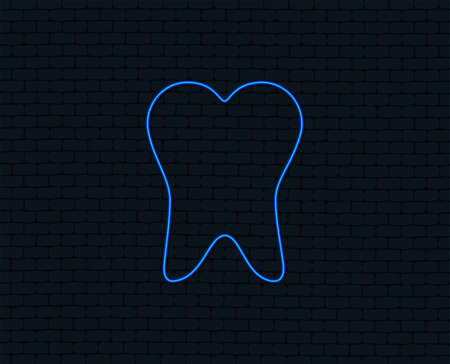 Neon light. Tooth sign icon. Dental care symbol. Glowing graphic design. Brick wall. Vector