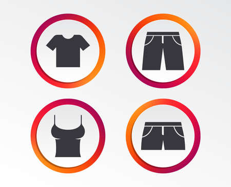 Clothes icons. T-shirt and pants with shorts signs. Swimming trunks symbol. Infographic design buttons. Circle templates. Vector