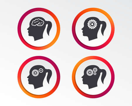 Head with brain icon. Female woman think symbols. Cogwheel gears signs. Infographic design buttons. Circle templates. Vector Illustration