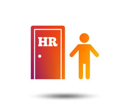 Human resources sign icon. HR symbol. Workforce of business organization. Man at the door. Blurred gradient design element. Vivid graphic flat icon. Vector