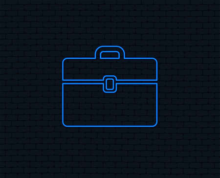 Neon light. Case sign icon. Briefcase button. Glowing graphic design. Brick wall. Vector  イラスト・ベクター素材