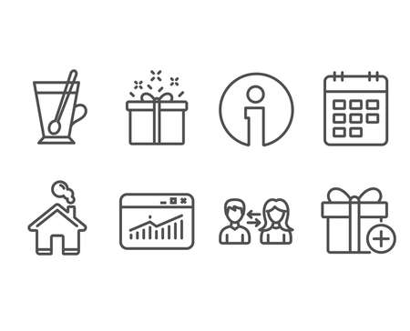 Set of Website statistics, Tea mug and Special offer icons. Calendar, People communication and Add gift signs. Data analysis, Cup with teaspoon, Delivery box. Vector Ilustração