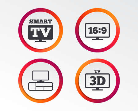Smart TV mode icon. Aspect ratio 16:9 widescreen symbol. 3D Television and TV table signs. Infographic design buttons. Circle templates. Vector Stock Vector - 101608643