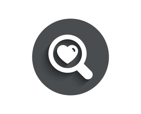 Love dating simple icon. Search relationships sign. Valentines day symbol. Circle flat button with shadow. Vector