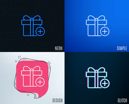 Glitch, Neon effect. Add Gift box line icon. Present or Sale sign. Birthday Shopping symbol. Package in Gift Wrap. Trendy flat geometric designs. Vector