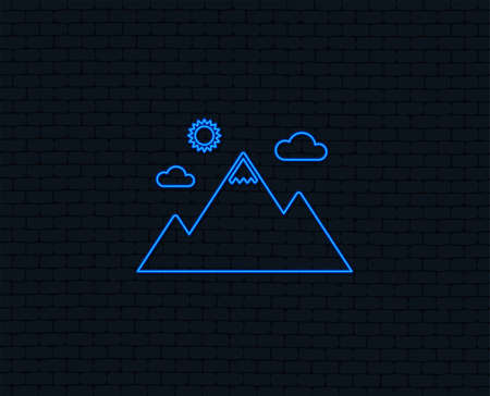 Neon light. Mountain icon. Mountaineering sport sign. Leadership motivation concept. Glowing graphic design. Brick wall. Vector Иллюстрация