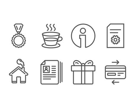 Set of Cv documents, File settings and Gift box icons. Medal, Coffee cup and Credit card signs. Portfolio files, File management, Present package. Winner, Tea mug, Bank payment. Vector Çizim