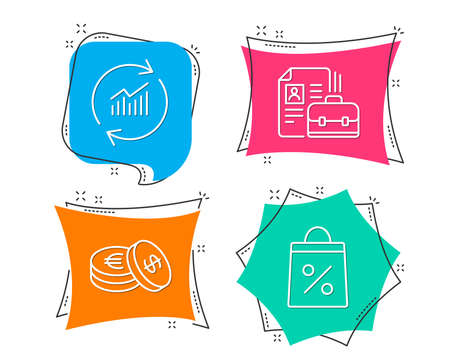 Set of Vacancy, Update data and Savings icons. Shopping bag sign. Hiring job, Sales statistics, Cash coins. Supermarket discounts.  Flat geometric colored tags. Vivid banners. Trendy graphic design Illustration