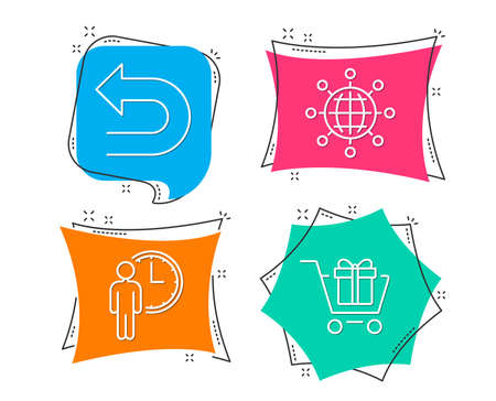 Set of Undo, Waiting and International globe icons. Shopping cart sign. Left turn, Service time, World networking. Gift box.  Flat geometric colored tags. Vivid banners. Trendy graphic design. Vector