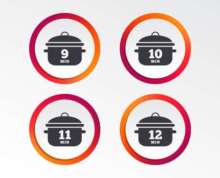 Cooking pan icons. Boil 9, 10, 11 and 12 minutes signs. Stew food symbol. Infographic design buttons. Circle templates. Vector Foto de archivo - 101608836