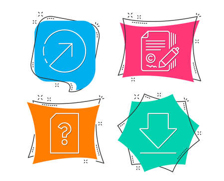Set of Copywriting, Direction and Unknown file icons. Downloading sign. �¡opyright signature, Navigation pointer, Doc with question mark. Load information.  Flat geometric colored tags. Vivid banners Stock Illustratie