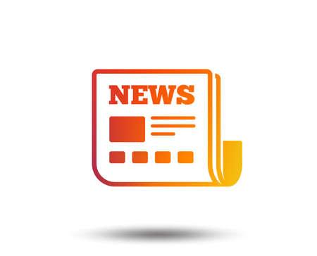News icon. Newspaper sign. Mass media symbol. Blurred gradient design element. Vivid graphic flat icon. Vector