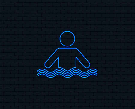 Neon light. Swimming sign icon. Pool swim symbol. Sea wave. Glowing graphic design. Brick wall. Vector