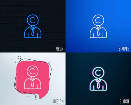 Glitch, Neon effect. Copyrighter line icon. Writer person sign. Copywriting symbol. Trendy flat geometric designs. Vector