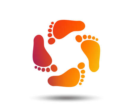 Baby footprints icon. Child barefoot steps. Toddler feet symbol. Blurred gradient design element. Vivid graphic flat icon. Vector Çizim