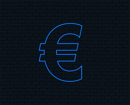 Neon light. Euro sign icon. EUR currency symbol. Money label. Glowing graphic design. Brick wall. Vector