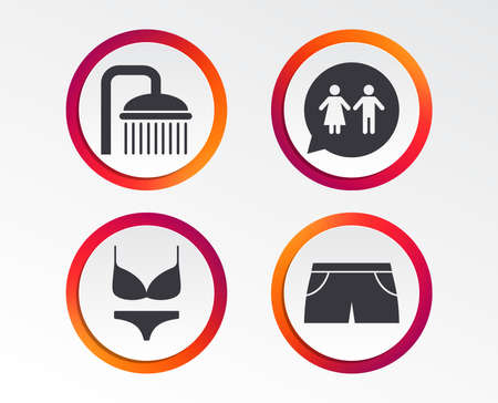 Swimming pool icons. Shower water drops and swimwear symbols. WC Toilet speech bubble sign. Trunks and women underwear. Infographic design buttons. Circle templates. Vector