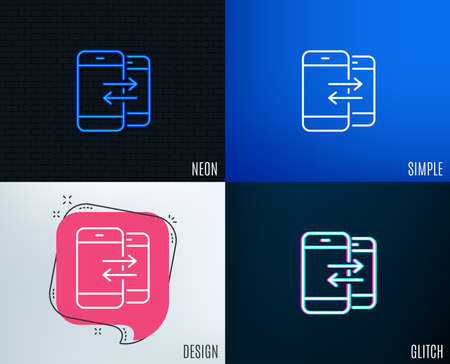 Glitch, Neon effect. Phone Communication line icon. Incoming and Outgoing call sign. Conversation or SMS symbol. Trendy flat geometric designs. Vector